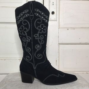 Cami Western Suede Embroidered Boots